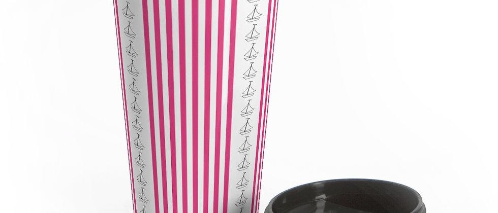 Simplistic Pink Vertical Stripe Stainless Steel Travel Mug by Charles Tybee