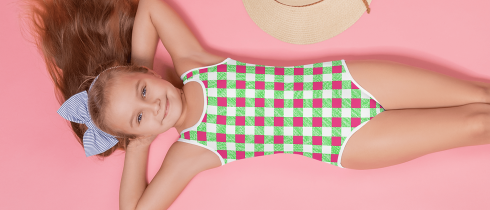 Lime Green Gingham Girls' Swimsuit