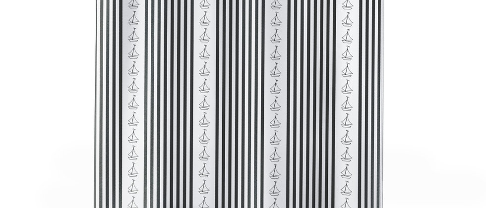 Simplistic Black Vertical Stripe Shower Curtain by Charles Tybee