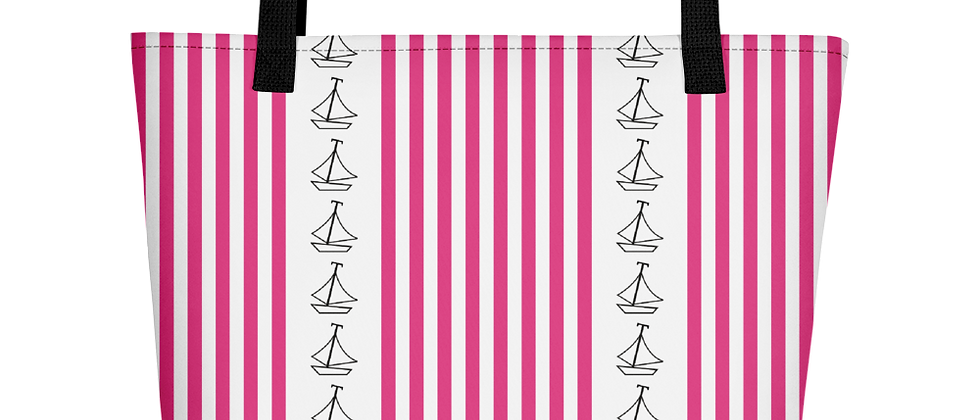 Pink Vertical Sailboat Beach Bag