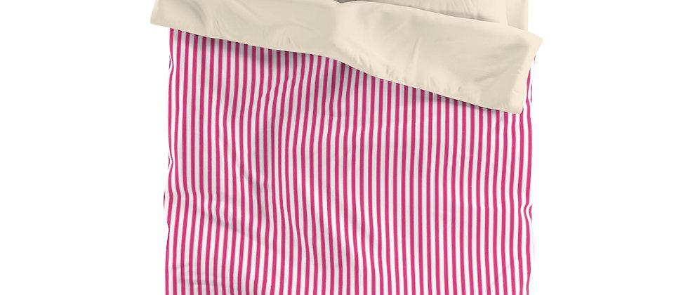 Pink Stripe Microfiber Duvet Cover by Charles Tybee