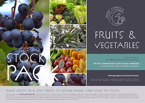 Instant download - FRUITS & VEGETABLES - 25 ITEMS