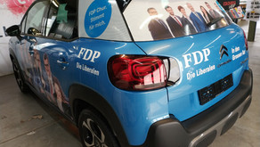 FDP Wahlmobil Design und Folierung.