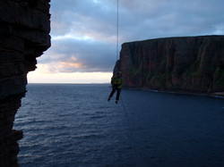 Final abseil from the Old Man of Hoy