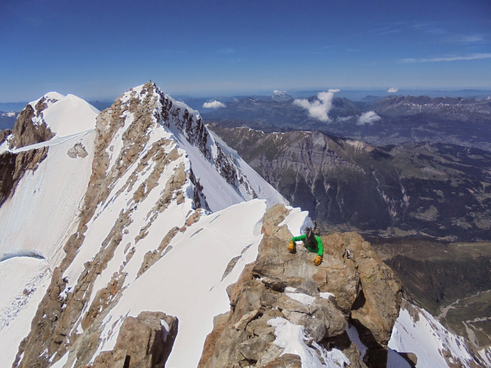 Climbing in the Mont Blanc Massif.