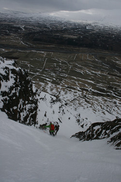 Couloir skiing in northern Iceland.