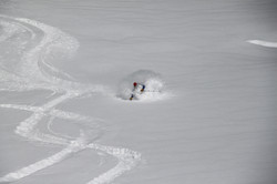 Deep powder in Chamonix, France.