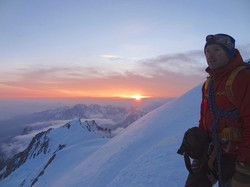 Sunrise near Mont Blanc's summit.