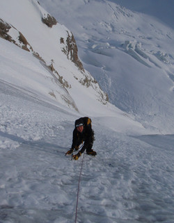 Ice climbing on the Aiguille Verte.