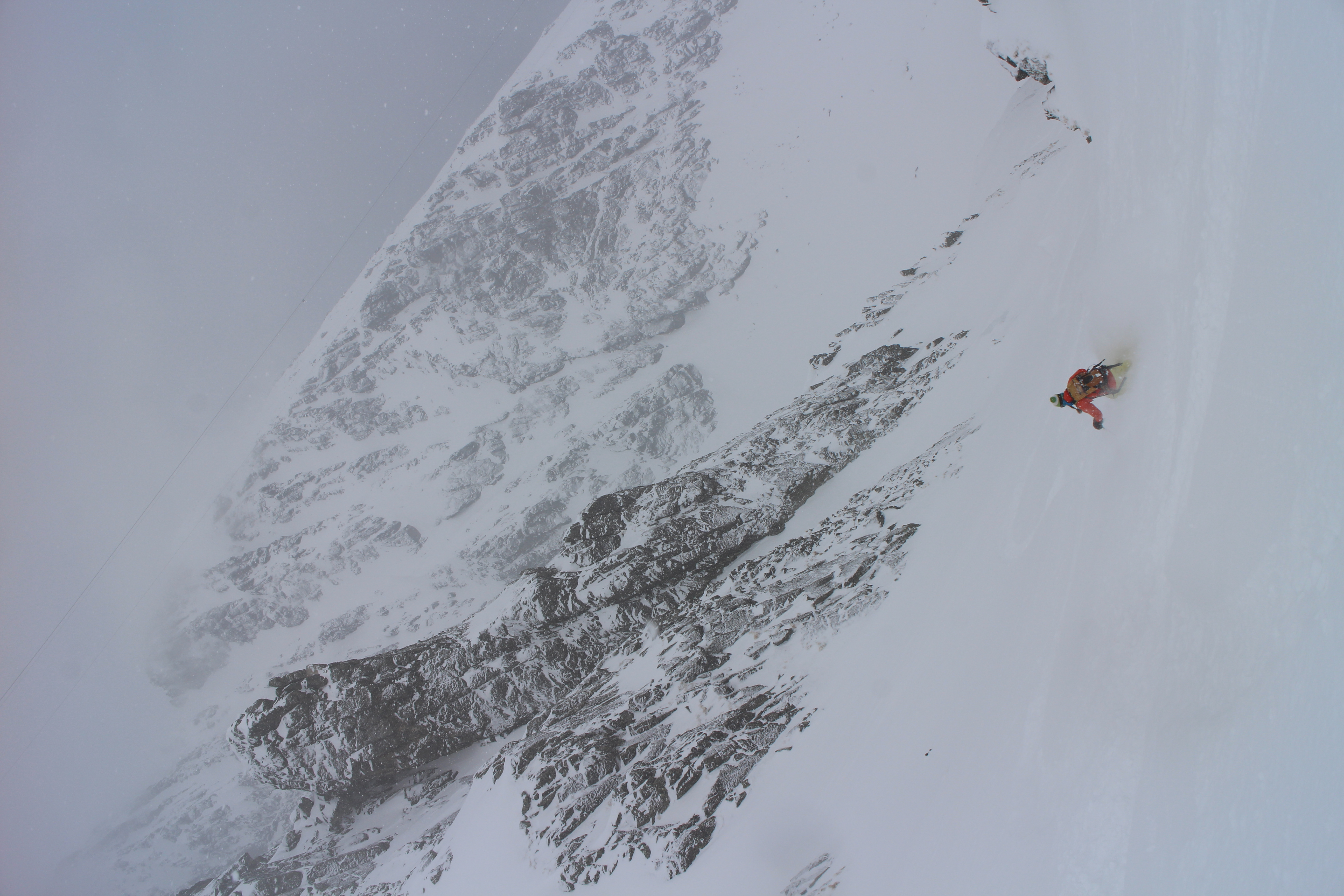 Couloir skiing in Slovakia.