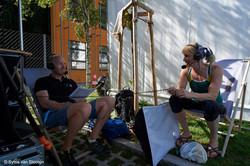 Interviewing Australian athlete Tiff Melius.