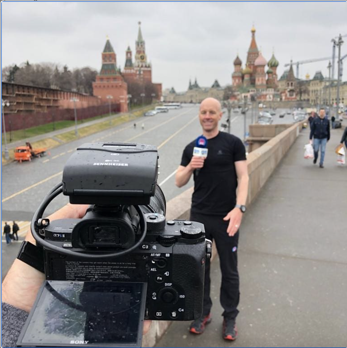 Filming/shivering in Red Square, Moscow.