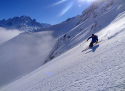 Skiing powder in Vallorcine, France.