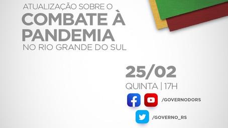 Hoje (25/02) tem live sobre o combate ao coronavírus no Estado.