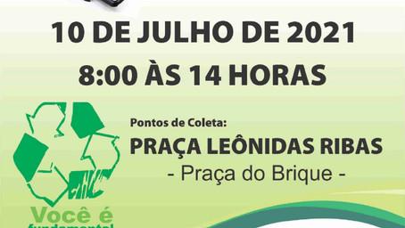 Recolhimento de lixo eletrônico ocorrerá no Sábado, 10 de julho