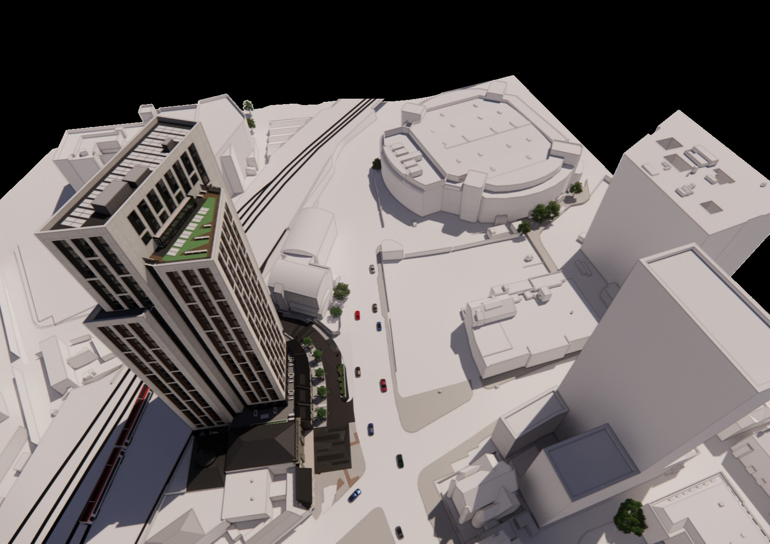 Aerial showing the triad of tall buildings around the central car park area. The image shows how the stepping mass of the proposed tower responds to the heights of the Bridge Street Exchange Residences and Admiral Building