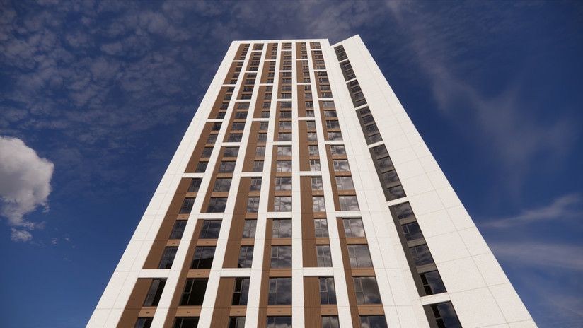 Image of the Tower looking up showing the proposed cladding, the textural appearance provided by the profiled side panel, and contrast in panel colours between the West block and Central block