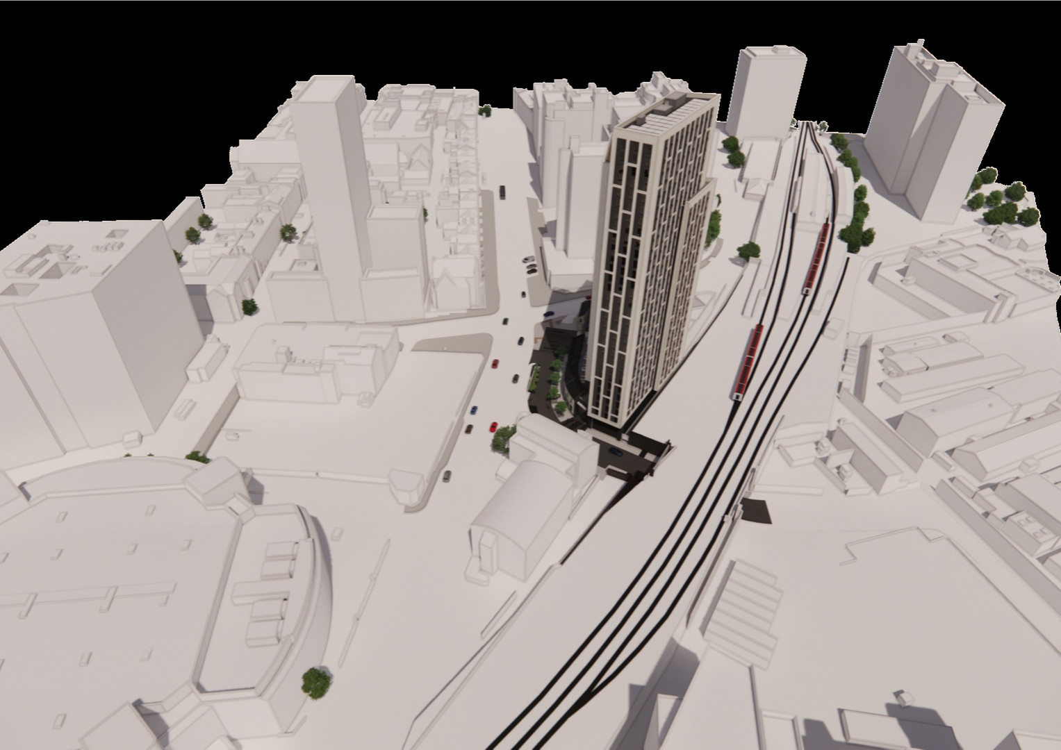 Visual showing the triad of buildings around the central car park with the proposed tower presenting a slimmer tall profile to the south as the Bridge Street Exchange