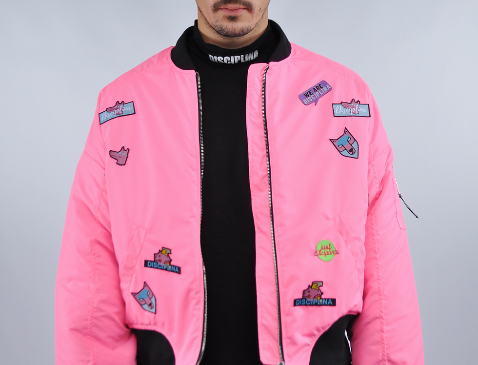 Men's Bomber Jacket - Pink Patch