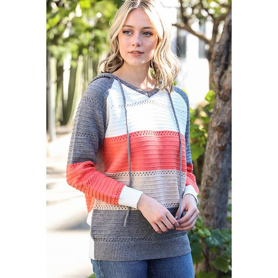 Color Block Sweater with Hoodie