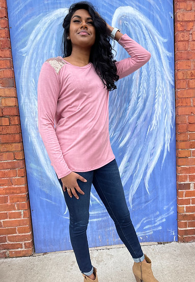 Sequin inset solid knit L/S top