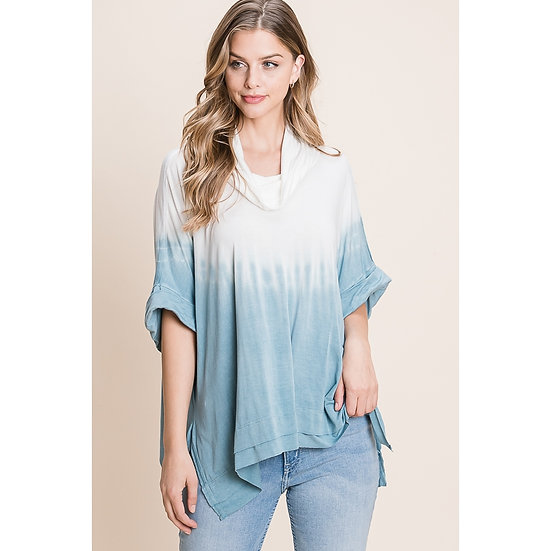 ombre cuffed sleeve top