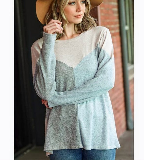 Plus- Brushed Colorblock knit top
