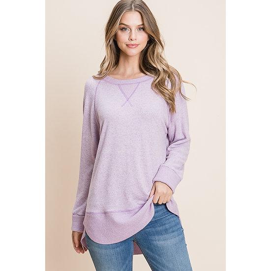 lavender Boat Neck sweatshirt