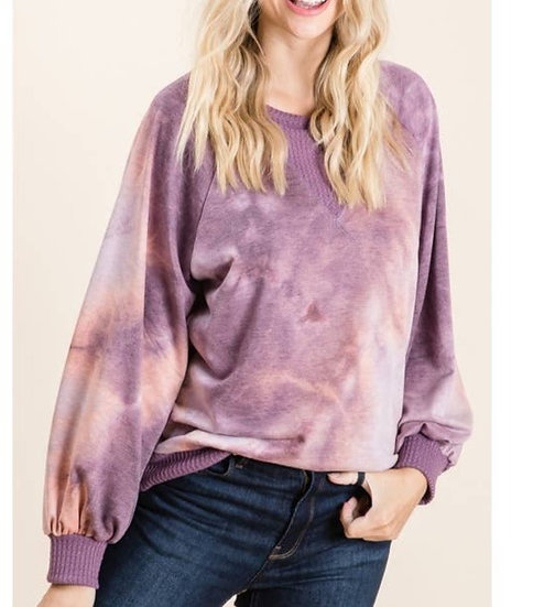 Tie dye French terry knit top