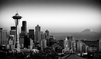 Seattle and Mount Rainier