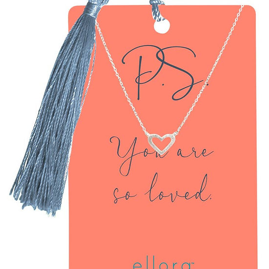 Open Heart Necklace - Silver on PS Card