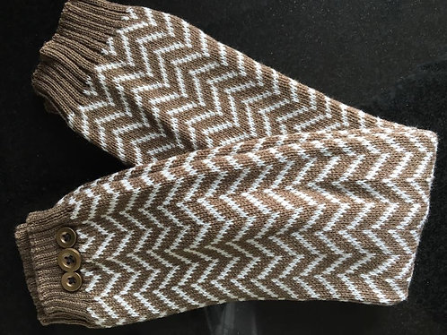 Brown Chevron Knit Boot Socks - adult size