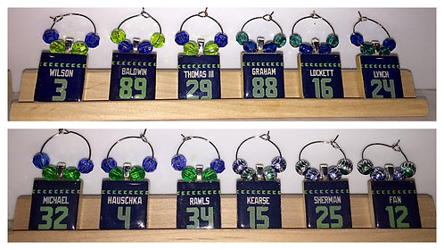 Seahawks Scrabble Wine Glass Charms - Set of 4 (Your Choice)