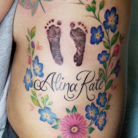 Memorial Floral tattoo