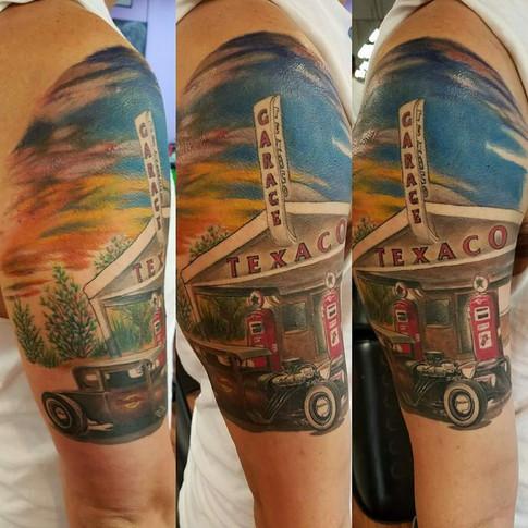 Gas station tattoo half sleeve