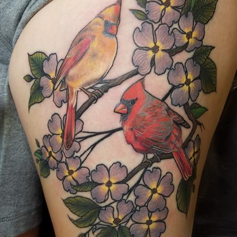Cardinals and flower tattoo