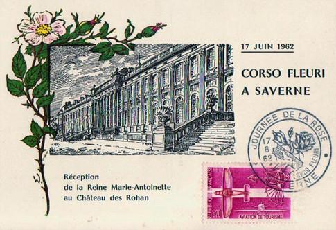 Carte postale du Corso fleuri 1962, cachet spécial