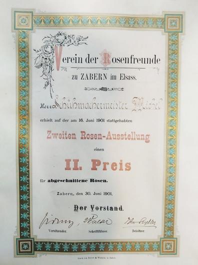 Diplôme du 2° prix de la deuxcième exposition de roses coupées 1901