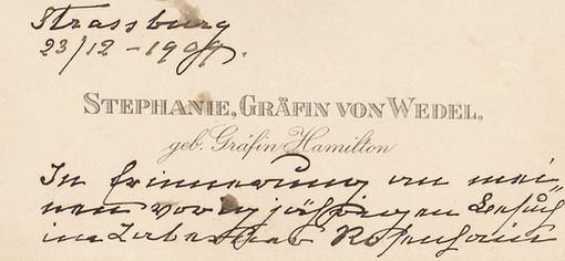 Mot de remerciements de la Comtesse Stéphanie von Wedel, 1909