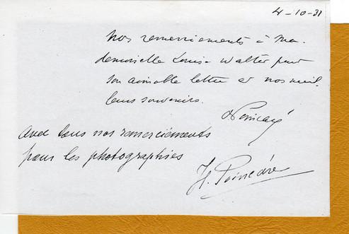 Carte de remerciements du président Poincaré 1931