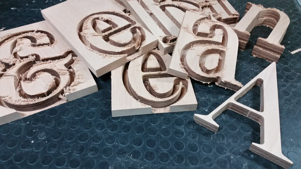 A B C D (cutting some letters)