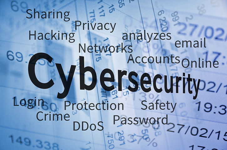 Cyber Security concept. Cloud containing