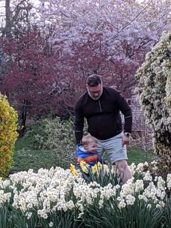 Walking through the spring flowers