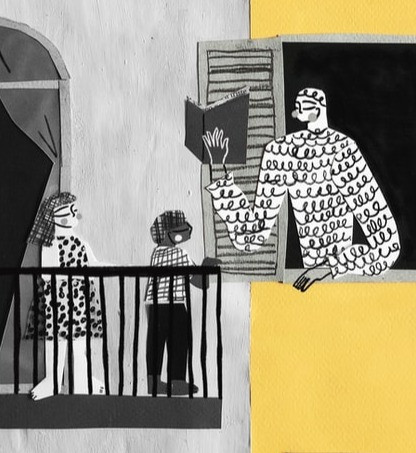 An adult reads a story out their window to two children on a neighboring balcony.