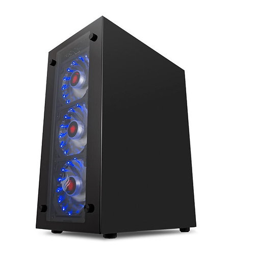 GABINETE GAMER MAGPIE III LATERAL/FRONTAL VIDRO LED AZUL, PGMA-03-BLUE