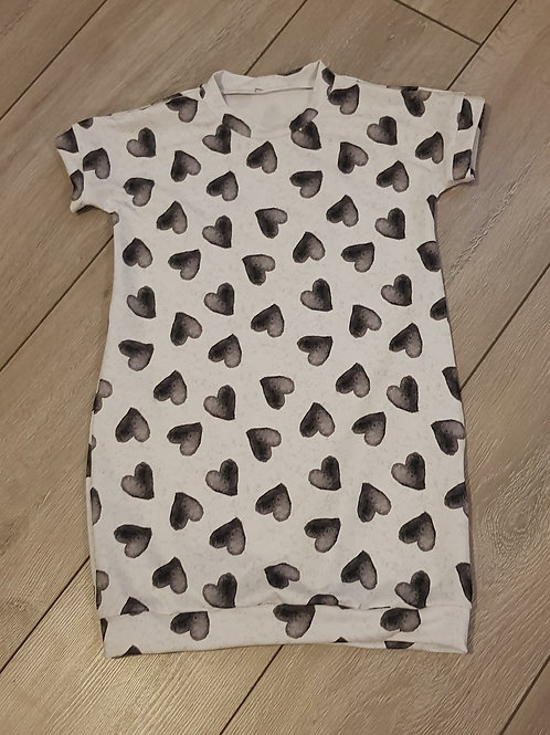 Tee shirt dress- Mono hearts