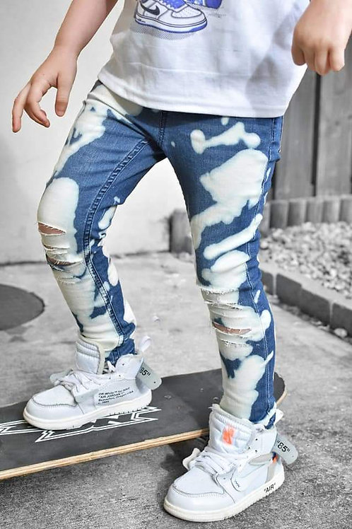 Blue bleached denim Jeans