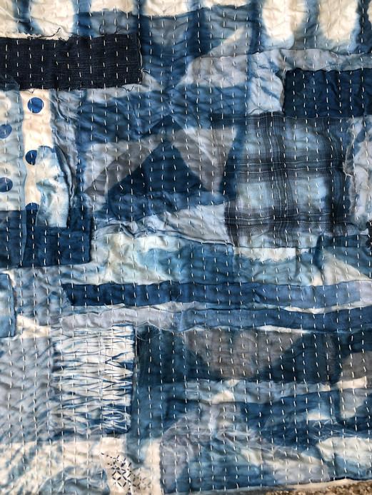 Sashiko Stitching - Repurposed Waste - Indigo Dyed