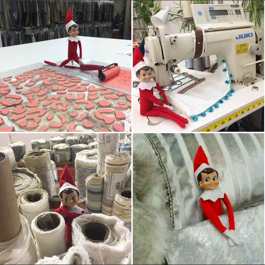 Of course the lovely ladies of the Design Department had the most creative holiday tradition! Freddie the Elf found his way all around our factory.