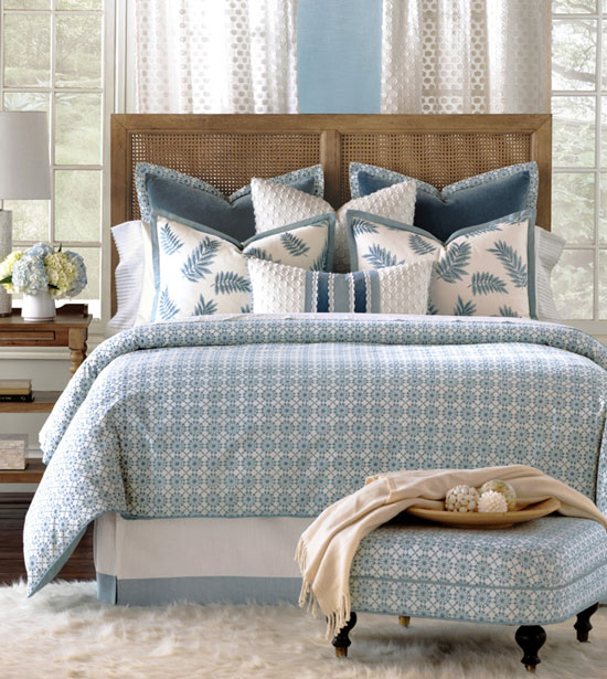 Luxuriate in the serene blue-and-white appeal of Penelope. From ancient Chinese porcelain and Delftware pottery to modern fine bone china, this soothing Wedgwood-blue color palette and repeating geometric motif creates a timeless look of sophistication, elegance, and calm. Its richly textured fabrics and embellished decorative pillows add an extra layer of depth and create an ethereal setting.